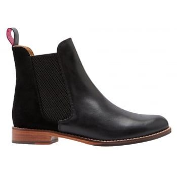 The origins of the classic Chelsea boot can be traced back to the Victorian era, but Joules have added a few little twists that means they'll be one of the coolest styles around today. Perfect to pair with tights, trousers and jeans - they'll be the finishing touch to any outfit. http://www.marshallshoes.co.uk/womens-c2/joules-womens-westbourne-black-leather-chelsea-boot-p4140