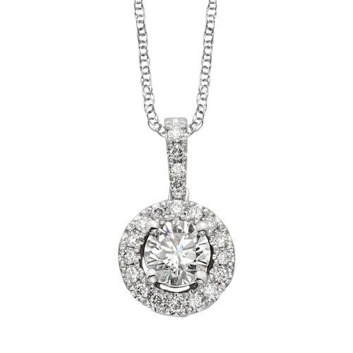 6d21b21e59dee 18k White Gold 1/2-ct. T.W. IGL Certified Colorless Diamond Halo ...