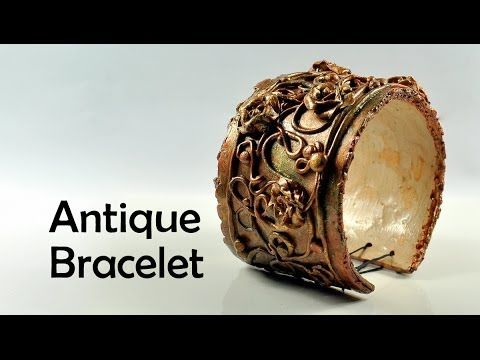 video: Antique / vintage bracelet with flowers  ~ Polymer Clay Tutorials