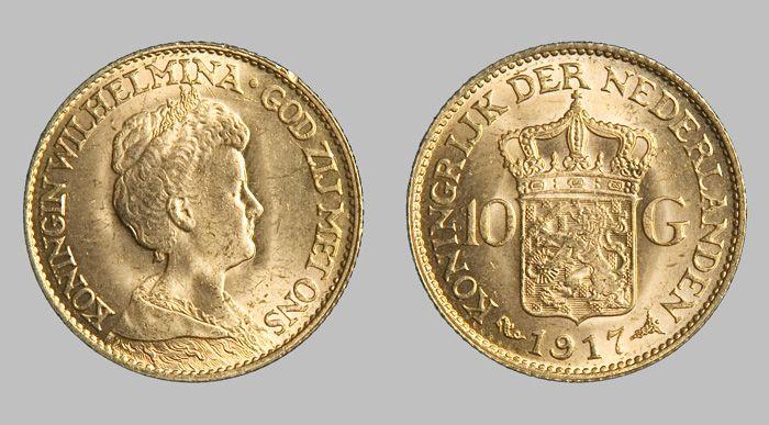 Goud Nederlands 1933 10 Gulden Wilhelmina