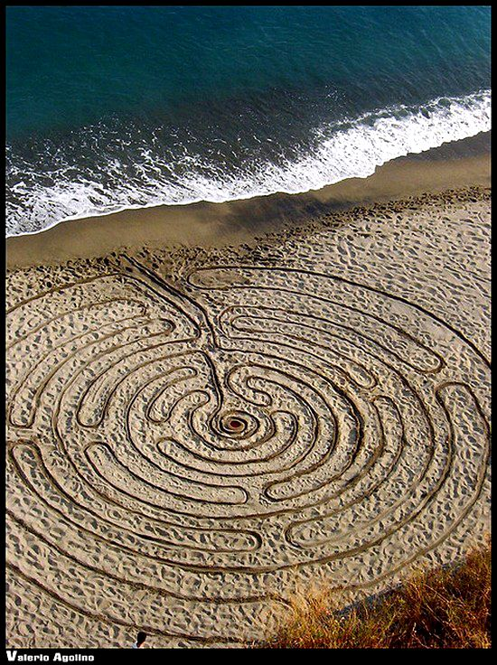 sand labyrinth (this is so #process -- the conscresence of waves plus the disappearing labyrinth as the tide rises.)