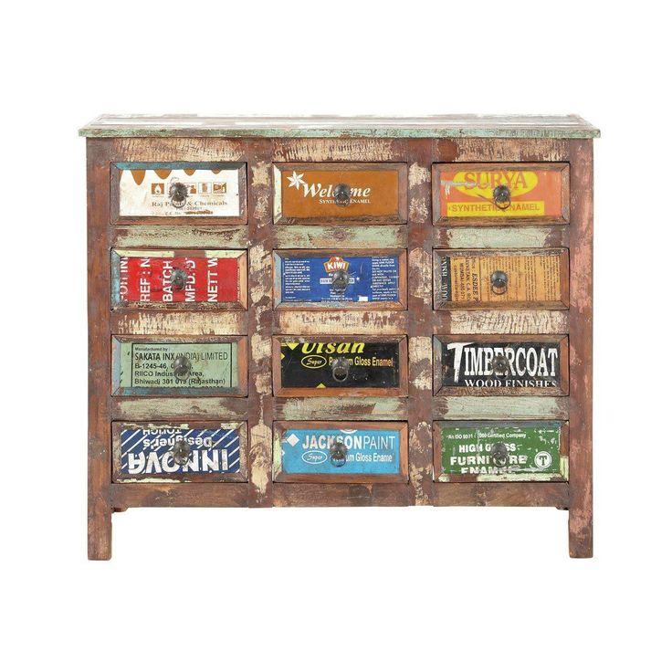 Commode cabinet bois recyclé Récup