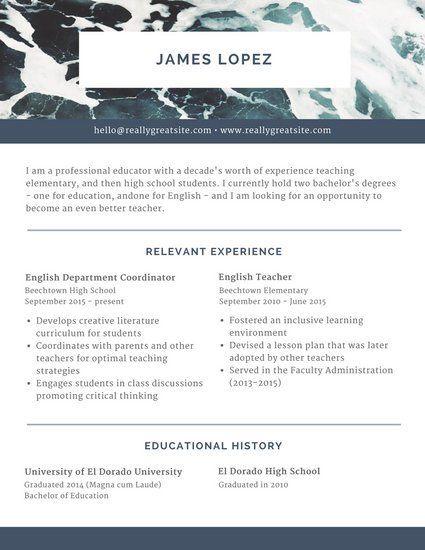 Blue Ocean Header Scholarship Resume design Pinterest Header