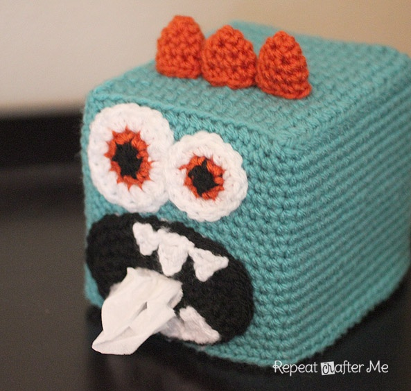 Repeat Crafter Me: Crochet Monster Kleenex Box Cover. Of course the lovely Stacie will modify into a no-crochet version.....and no-sew. Ain't nobody got time for that.