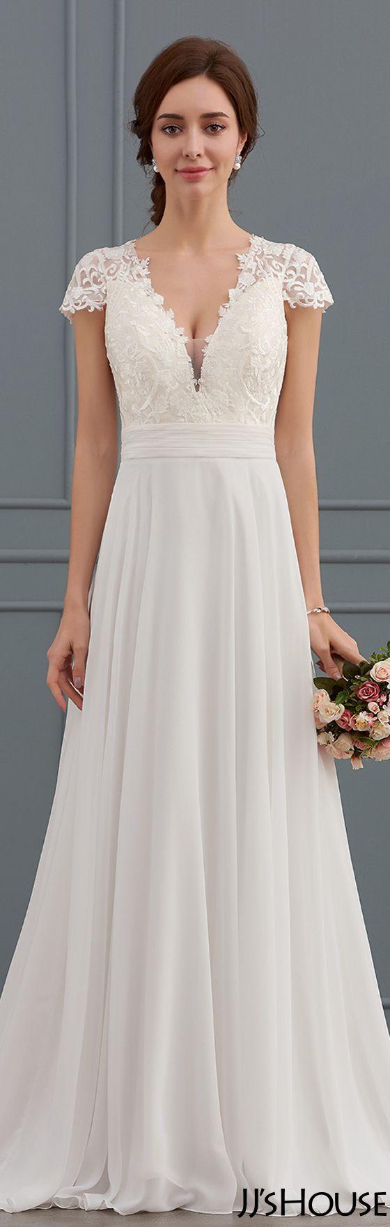 Amazing V-neck wedding dress!#JJsHouse#Wedding