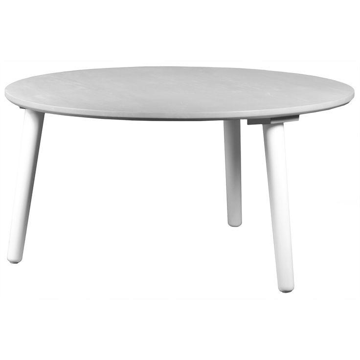Köp - 1195 kr! Day soffbord - Grå. Ett grått runt soffbord med vita ben Färg: Grå Material: Massivt Heveaträ Diameter: