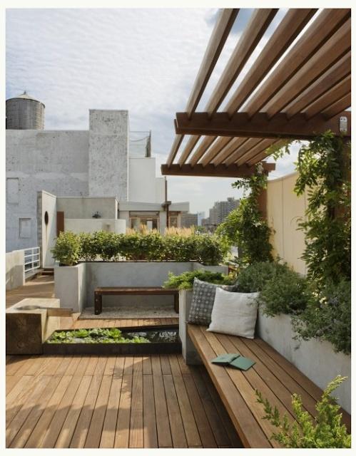Summer deck, garden, concrete