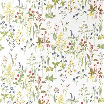 Experience a lush summer meadow every day with this Flora wallpaper from Sandberg Tyg