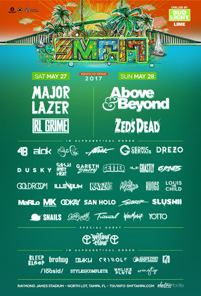 Sunset Music Festival Announces 2017 Lineup Feat. RL Grime, Zeds Dead, Major Lazer & More Sunset Music Festival in Tampa, FL is back again for its sixth edition and its 2017 lineup is worth checking out. The two-day event will take place May 27-28 at Raymond James Stadium and features Major Lazer, RL Grime, Above & Beyond and Zeds Dead as its headliners, in addition to a special performance by Yellow Claw. The Tampa-based festival showcases a handful of other TSIS favorites incl..