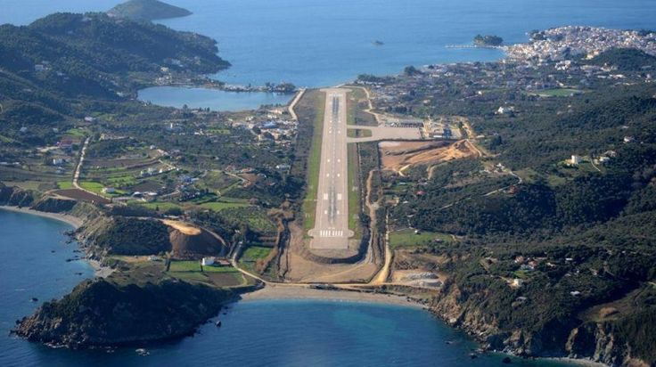 Skiathos airport aerial photo - the maddest airport I've ever landed at, landing strip I'd tiny!