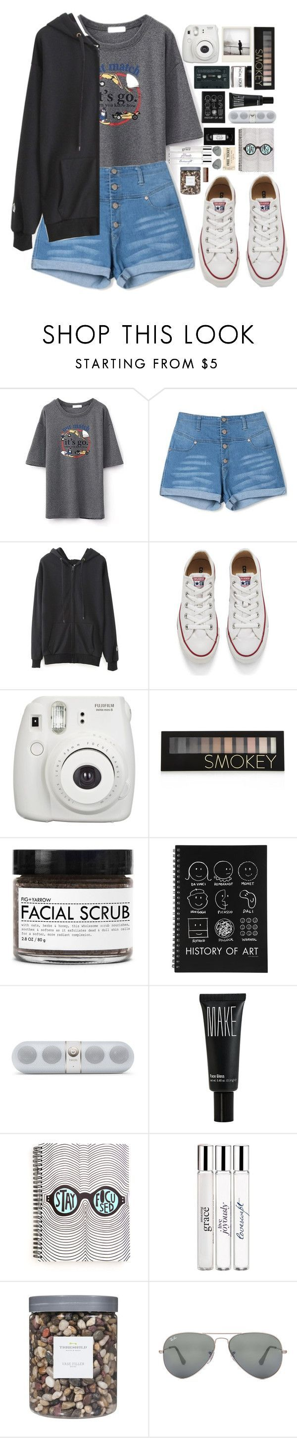 """""""beautifulhalo"""" by ellac9914 ❤ liked on Polyvore featuring WithChic, Converse, Fujifilm, Polaroid, Forever 21, Fig+Yarrow, Make, philosophy, Threshold and Ray-Ban"""