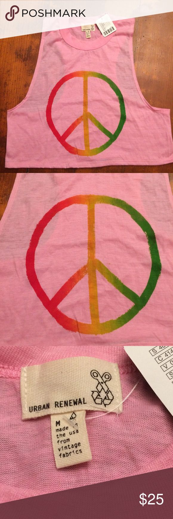 Urban Renewal Peace Logo Crop Top Urban Renewal Peace Logo Crop Top! Woodstock reminiscent wear this cute Top to Coachella or any upcoming music festival! Made in  Urban Outfitters Tops Crop Tops