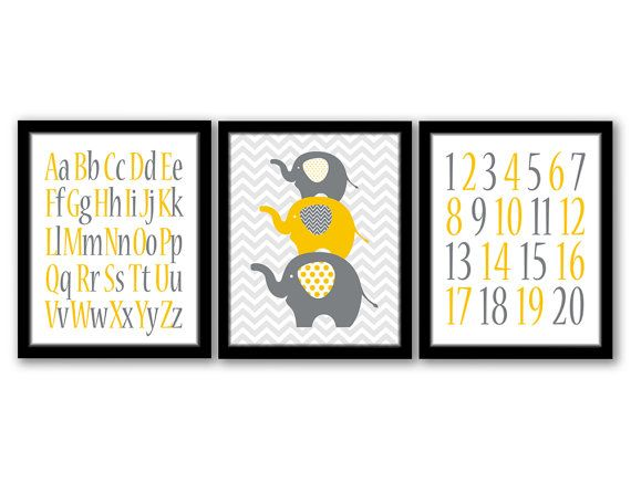 Elephant Art, Set of 3, ABC Art, Boys Room, Chevron Art, Children's  Art, Yellow and Grey, Numbers Wall Art, Printable Art, INSTANT DOWNLOAD...