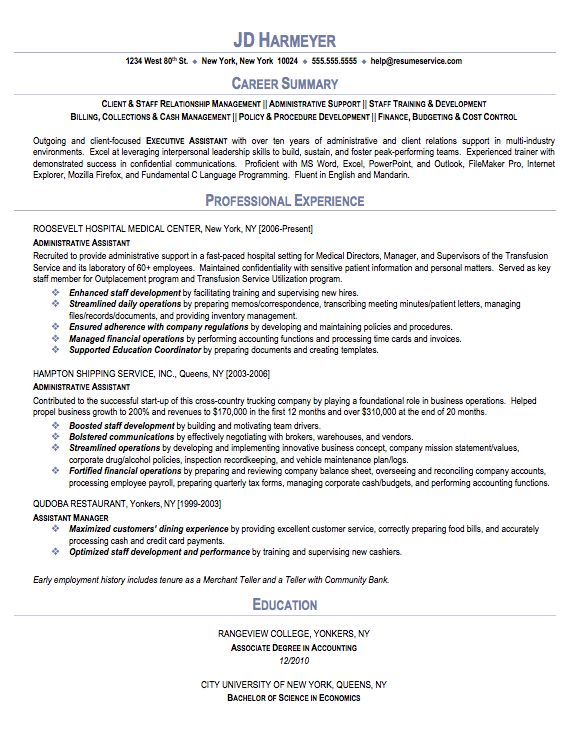 Administrative Assistant Resume Sample Executive Best Resumes