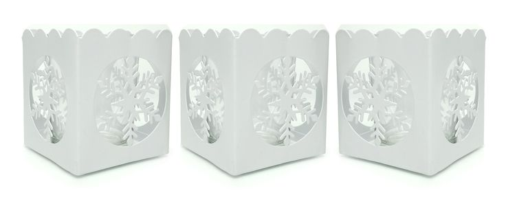 White Snowflake Candle Holders - Set of 3 White Metal Candleholders with a Snowflake Cutout - Tea Light or Votive Holders - Christmas Candles