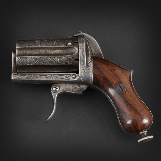 Pepper-box revolver with pinfire system of six shots, 1870. - Rgrips.com