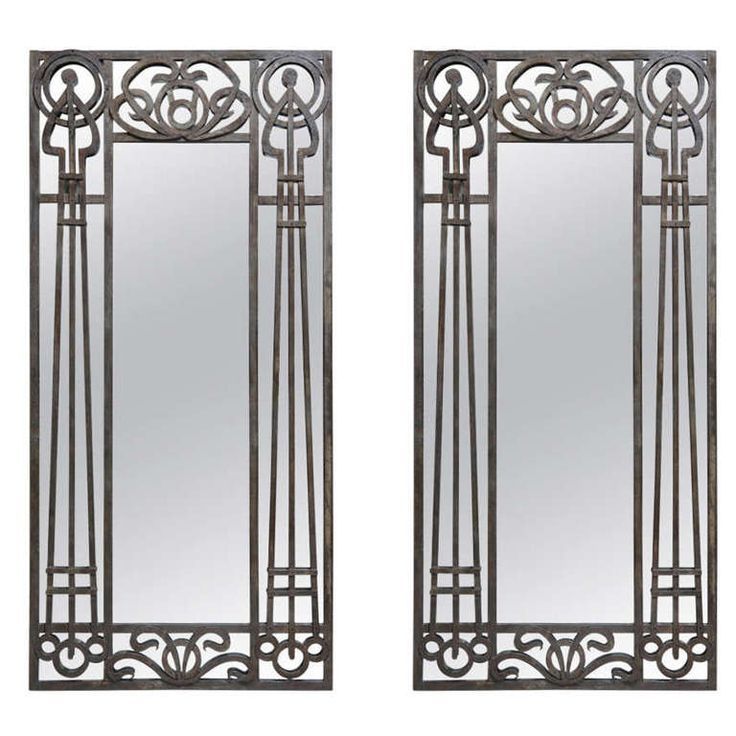 Tall Pair of Iron Art Nouveau Mirrors, France, 1910's | From a unique collection of antique and modern floor mirrors and full-length mirrors at https://www.1stdibs.com/furniture/mirrors/floor-mirrors-full-length-mirrors/