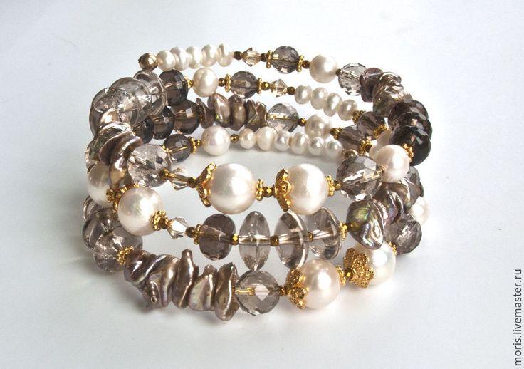 """Купить Жемчужный браслет из серебра """"Рахни"""" раухтопаз позолота... - купить браслет в москве"""