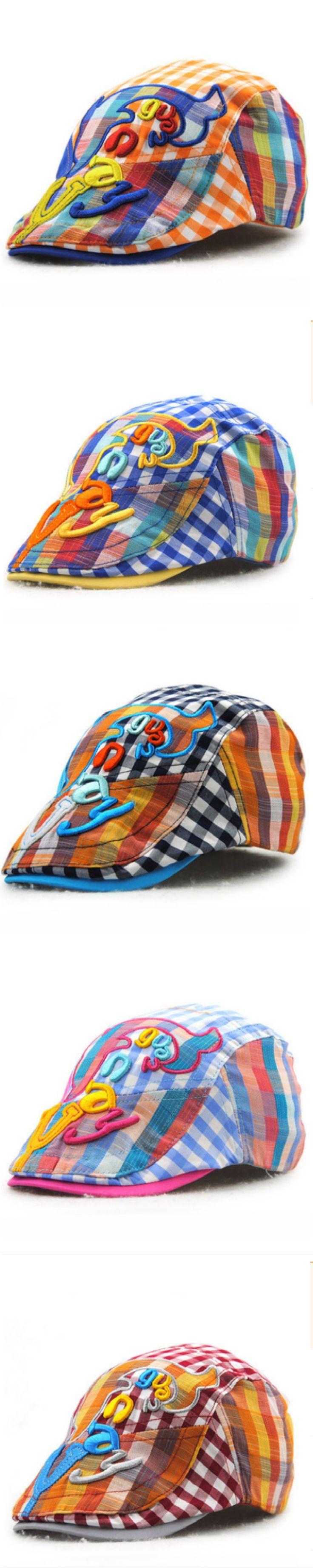 plaid summer children berets kids cartoon whale newsboy hat baby boy girl flat cap duckbill visor casquette peaked bone