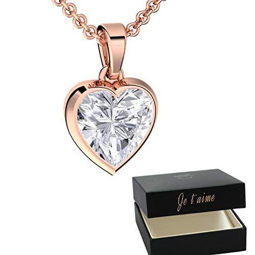 4db8360e3f2a1 Amoonic Collier Cœur Femme Or Rose ❤ (Argent 925 plaqué Or) avec Pierre