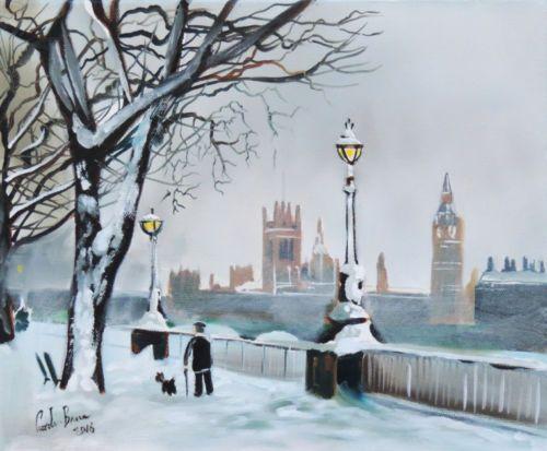 a-walk-along-the-Thames-winter-London-oil-painting-Gordon-Bruce-new-UK-art