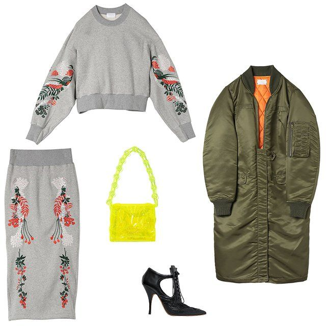 Mame - Mame embroidery sweatshirt in gray, price upon request, mamemamemame.com; Mame long coat in khaki, $635, mamemamemame.com; Givenchy 110mm lace-up lace and leather pumps, $1,295, luisaviaroma.com; Mame embroidery jersey tight skirt in gray, price upon request, mamemamemame.com; Mame vinyl chloride long chain bag, $431, mamemamemame.com