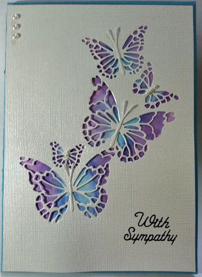 Background colours made using Tim Hiltz Distress inks and Memory Box Reverse Butterfly Die. #memoryboxdie