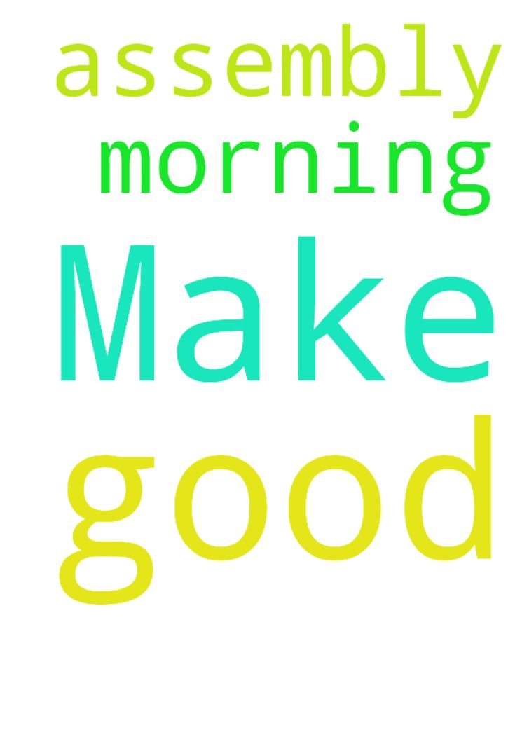 Make our morning assembly good amen - Make our morning assembly good amen Posted at: https://prayerrequest.com/t/UxI #pray #prayer #request #prayerrequest