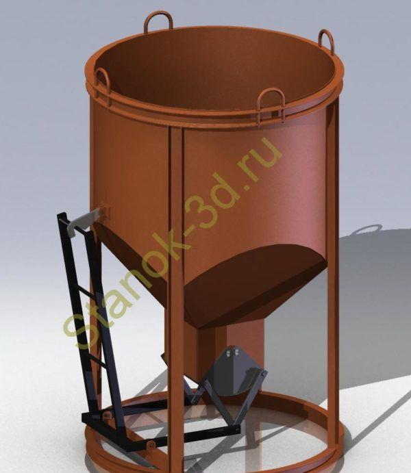 Подробная 3Д-модель бадьи для бетона. Более 30 деталей в модели. Формат: sldprt,sldasm (программа solidworks),stp, iges.