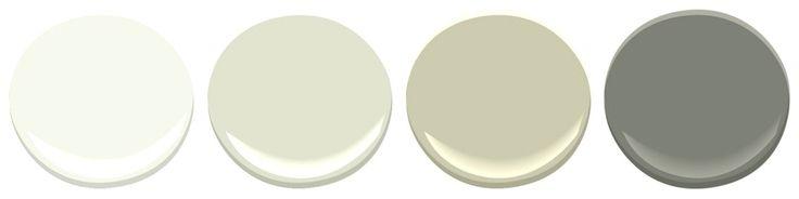 Simply White - Benjamin Moore Old Prairie - Benjamin Moore Camouflage - Benjamin Moore Kendall Charcoal - Benjamin Moore