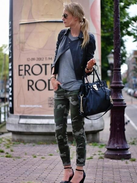 STYLE IT! Lookin Oh So Chic in Camo Jeggings, Marble Tee Ponte Moto Jacket click her for more details