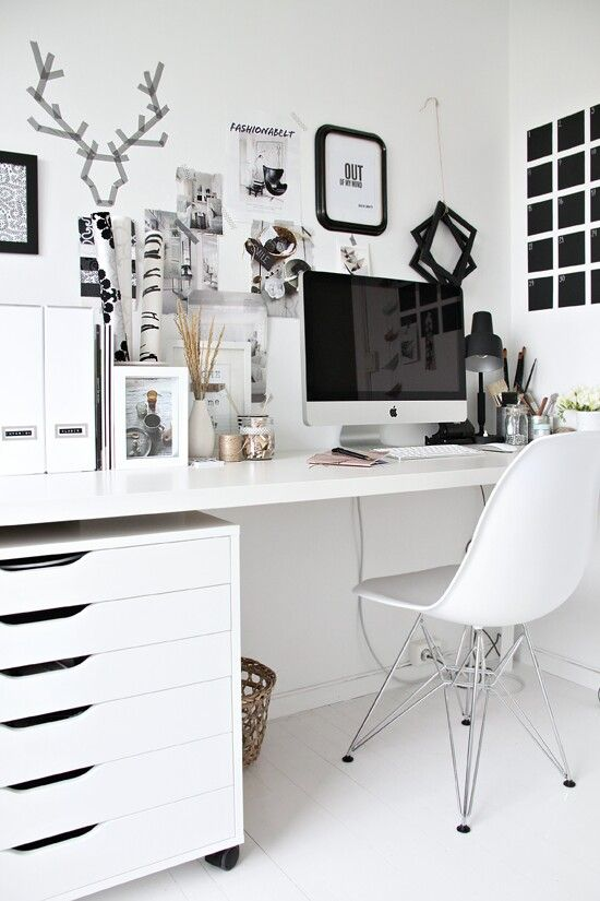 I Love The Black And White, Very Clean And Well Organized Space. One Thing  I Need More Of, I Have NO Storage Space At My Current Home Office Desk