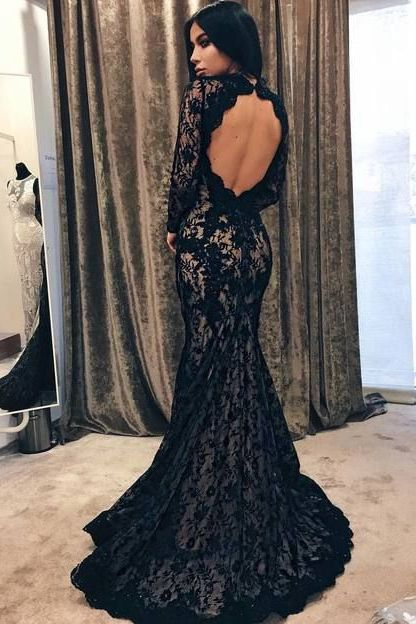 08cf5dc9506 Mermaid Round Neck Open Back Sweep Train Black Lace Prom Dress with ...