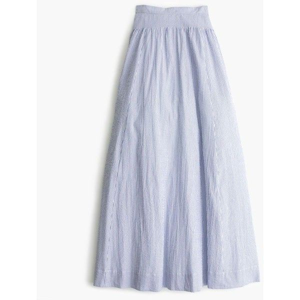 J.Crew Seersucker Ball Skirt ($250) ❤ liked on Polyvore featuring skirts, ball skirt, long floor length skirts, j crew maxi skirt, long maxi skirts and long skirts