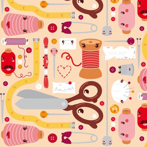 Sewing stuff (kawaii) fabric by verycherry on Spoonflower - custom fabric @Laura Cox fabric for curtains in sewing room??