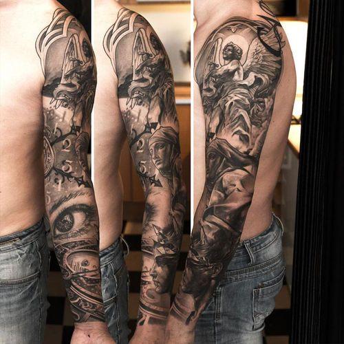 Tatuagem em 3D de uma Paisagem com anjos, feita no braço
