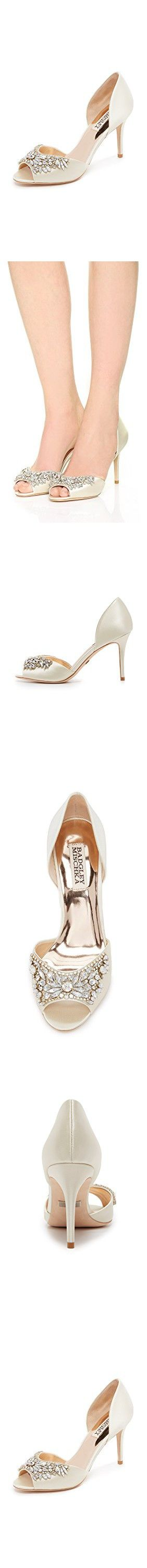 Badgley Mischka Women's Candance Peep Toe Pumps, Ivory, 6 B(M) US