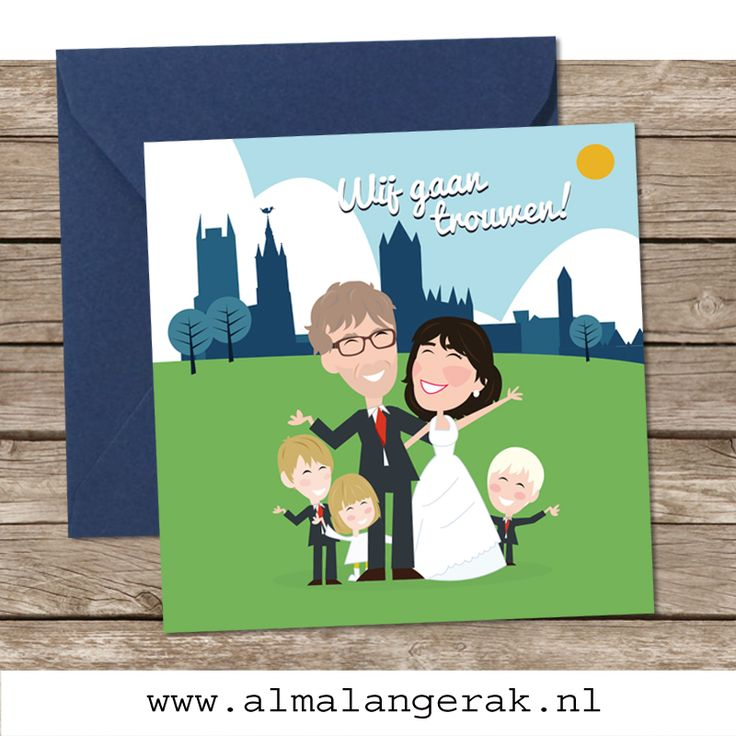 Nog een paar maanden geduld en dan is het feest in Gent, dan trouwen Kurt en Rebecca met elkaar. De trouwkaarten mocht ik voor ze maken.  Op de voorkant van deze kaarten staat het bruidspaar samen met hun kinderen nagetekend. Op de achtergrond de skyline van Gent met onder andere de 3 torens.   Kurt en Rebecca, het duurt nog even, maar alvast een hele mooie dag toegewenst!  #gent #skyline #trouwkaarten #cartoon