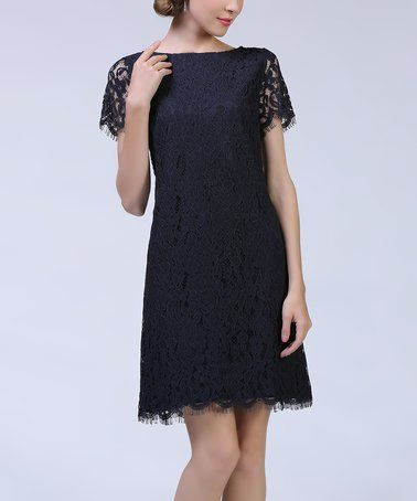 Another great find on #zulily! Black Lace Overlay Dress #zulilyfinds