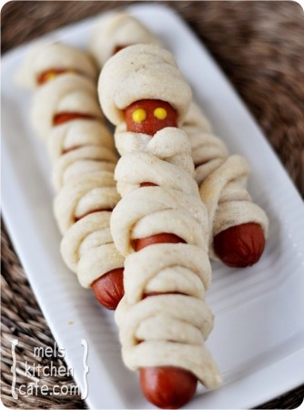 mummy dogs...hot dogs wrapped in breadstick dough ...fun for the kiddos :)