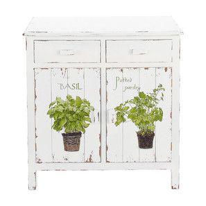 Credenza bianca da cucina in legno L 80 cm - Aromates