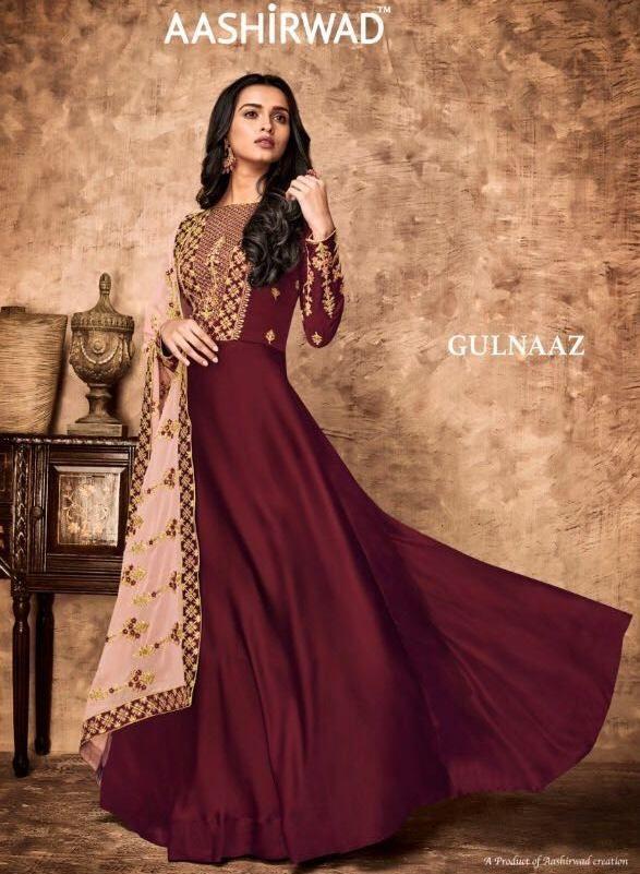 567d183d29 Krishna Creation » aashirwad presents gulnaaz 8021-8028 anarkali work  designer dresses wholesale