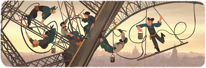 126th Anniversary since public opening of the Eiffel Tower | Google Doodle 03/31/2015