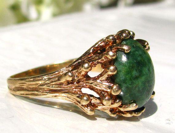 Esemco Jade Green Colored Ring Unique by LadyRoseVintageJewel