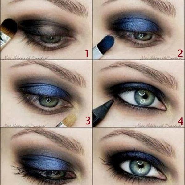 Maquillaje de ojos en azul