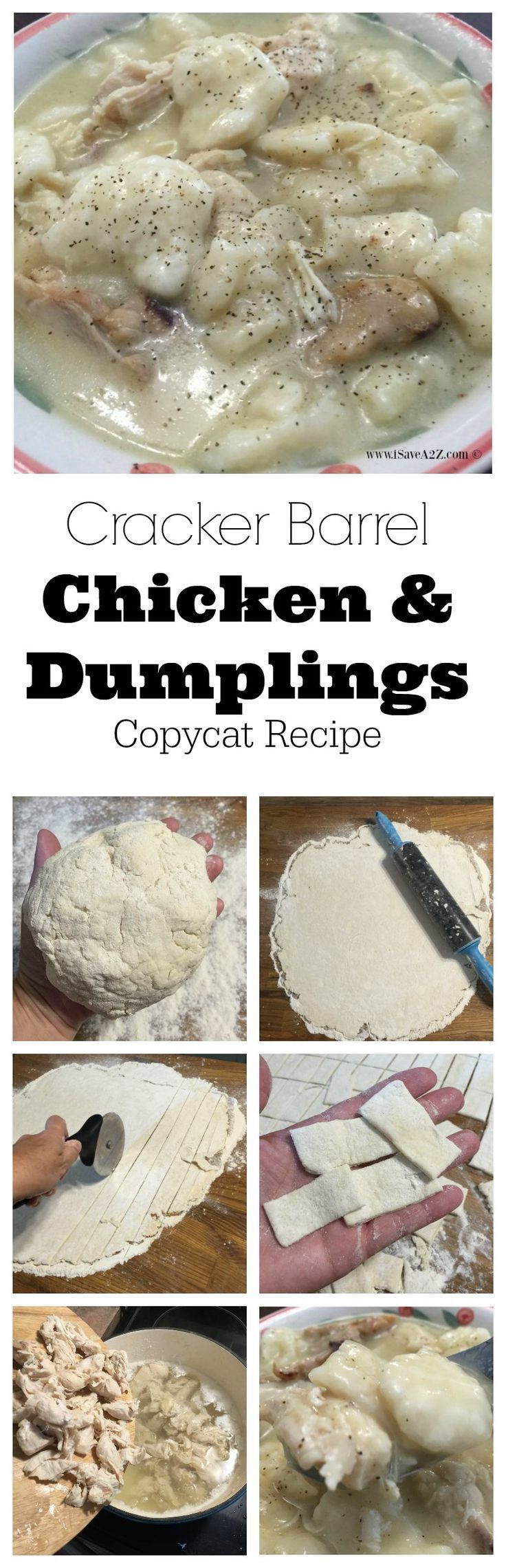 Cracker Barrel Chicken and Dumplings Copycat Recipe - http://iSaveA2Z.com