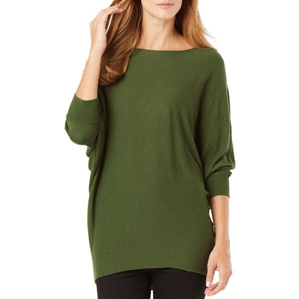 Phase Eight Becca Batwing Sweater (£96) ❤ liked on Polyvore featuring tops, sweaters, olive, bat sleeve sweater, olive green sweater, army green top, batwing sweater and slouch sweater