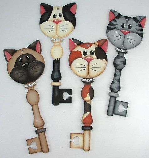 The Decorative Painting Store: Kitty Cat Key Ornaments Pattern DOWNLOAD, Categories
