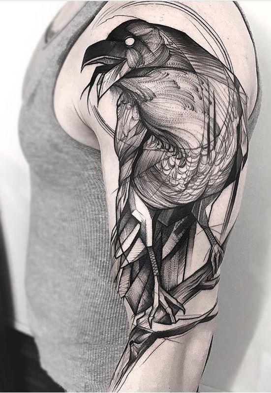 Minimalist Raven Tattoo: Frank Carrilho Raven Tattoo #CoolTattooIdeas