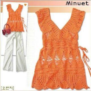 Receitas de Crochet: Bata ou Túnica. Crochet top with diagram